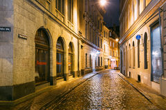 Riga, Latvia. Restaurant Cafe In Lighting In Night Illumination Royalty Free Stock Photo