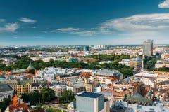 Riga, Latvia. Riga Cityscape In Sunny Summer Day. Top View Of Fa Stock Image