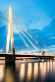 Riga Latvia. Scenic View Of Vansu Cable-Stayed Bridge In Night Illumination Over The Daugava River, Royalty Free Stock Photography