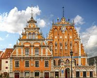 Riga, Latvia. Schwabe House And House Of The Blackheads At Town Hall Square, Ancient Historical Landmark And Popular Touristic pla stock image