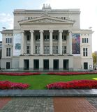 Editorial National Opera Riga Latvia. RIGA, LATVIA-SEPT. 27: The National Opera House and gardens are seen in Riga, Latvia, Europe on September 27, 2015 Royalty Free Stock Images