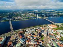 Riga, Latvia - September 2016: Aerial panoramic view over oldtown Stock Photo