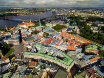 Riga, Latvia - September 2016: Aerial panoramic view over oldtown Stock Photography