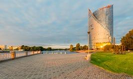 RIGA, LATVIA - SEPTEMBER 13, 2015: Left bank of Daugava river Royalty Free Stock Images