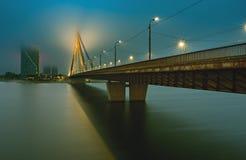 RIGA, LATVIA - SEPTEMBER 13, 2015: Left bank of Daugava river Stock Image