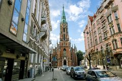 View of the Basilica of St. Gertrude in the historic centre of Stock Photos