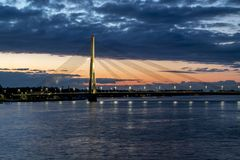 View of the cable-stayed bridge and the embankment of the river Royalty Free Stock Photography