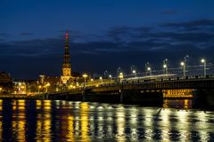 View of the embankment of the river Daugava and the old town in Royalty Free Stock Images