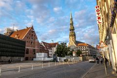 Views of streets and squares in the historic centre of Riga in L Royalty Free Stock Photo