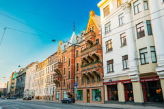 Riga, Latvia. Shops And Cafe On Elizabetes Street In Sunny Summer Stock Photo