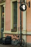 Riga, Latvia: The sign with the lock. Images of hedgehogs and glasses stock photography