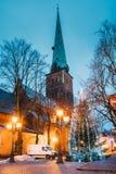 Riga, Latvia. St James`s Cathedral Basilica And Holiday Xmas Christmas Stock Photography