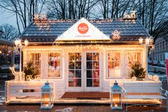 Riga, Latvia. Store Of Confectionery From Laima In Evening Festive stock photo