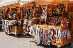 Riga, Latvia. Street Market In Livu Square. Trading Houses With. Sale Of Gifts, Sweets And Souvenirs Made From Wood And Amber Stock Photography