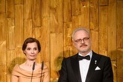 Andra Levite, First Lady of Latvia and Egils Levits, new President of Latvia royalty free stock image