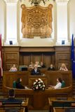 Gils Levits, Newly elected President of Latvia, Solemn oath. RIGA, LATVIA. 8th of July 2019. Egils Levits, Newly elected President of Latvia, Solemn oath and royalty free stock photos