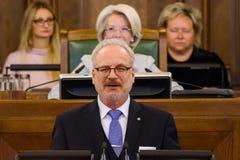 Egils Levits, Newly elected President of Latvia, Solemn oath. RIGA, LATVIA. 8th of July 2019. Egils Levits, Newly elected President of Latvia, Solemn oath and stock photo