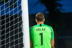 Jan Oblak, goalkeeper of team Slovenia. RIGA, LATVIA. 10th of June, 2019. UEFA EURO 2020 Qualification game between national football team of Latvia and team royalty free stock images