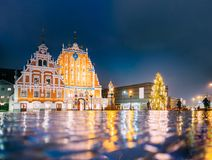 Riga, Latvia. Town Hall Square, Popular Place With Famous Landmark. Riga, Latvia. Panorama Of Town Hall Square, Popular Place With Famous Landmarks On It In Royalty Free Stock Photo