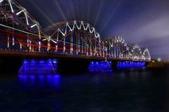 Riga Latvia train bridge rays Royalty Free Stock Photography
