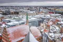 Riga, Latvia - January 5, 2019: View from the Cathedral of St. Peter in Riga. Panoramic view of the city. stock image