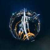 Sphere Planet Night houses in Riga city, Hotel, Latvia 360 VR Drone picture for Virtual reality, Panorama. Riga, Latvia, virtual, reality vr technology 360 life stock image