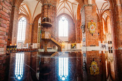 Riga Latvia. Wooden Pulpit In Interior Of St. Peter Church, Royalty Free Stock Photography