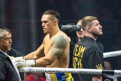 Oleksandr Usyk, before World Boxing Super Series semi final fight between Mairis Briedis and Oleksandr Usyk. Arena Riga. stock photos