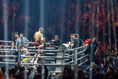 World Boxing Super Series semi final fight between Mairis Briedis and Oleksandr Usyk. Arena royalty free stock photos