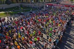 Riga, Let?nia - 19 de maio de 2019: Corredores de maratona de Riga TET que correm da linha do come?o fotografia de stock royalty free