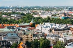 Riga, Letland Cityscape in Sunny Summer Day Beroemd Oriëntatiepunt - P royalty-vrije stock foto's