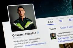 RIGA, LETLAND - Februari 02, 2017: Twitter-rekening van werelden beroemde voetballer Cristiano Ronaldo Royalty-vrije Stock Foto