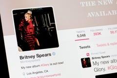 RIGA, LETLAND - Februari 02, 2017: Van de werelden het beroemde zanger en kunstenaar profiel van Britney Spears op Twitter Royalty-vrije Stock Afbeelding