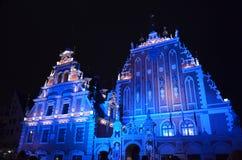 Riga, Letland, het Lichte Festival van Staro Riga Stock Afbeelding