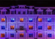 RIGA, LETLAND, 17 NOVEMBER, 2017: Festival Staro Richtende Riga het vieren van Riga, 99ste verjaardag van onafhankelijkheid stock afbeelding