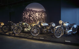 RIGA, LETLAND - OKTOBER 16: Retro de Motormuseum van motorfietsenriga, 16 Oktober, 2016 in Riga, Letland Royalty-vrije Stock Foto's
