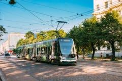 Riga, Letland Openbare Moderne Tram met het Aantal Zesde 6 royalty-vrije stock foto