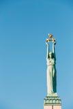 Riga, Letland Sluit omhoog Detail van Beroemd Oriëntatiepunt - Herdenkingsvrijheid stock afbeeldingen