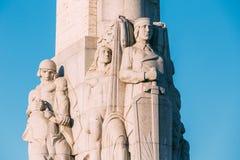 Riga, Letland Sluit omhoog Detail van Beroemd Oriëntatiepunt - Herdenkingsvrijheid stock afbeelding