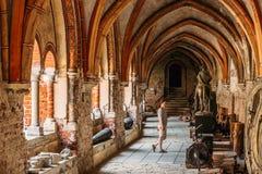Riga, Letland Vrouw die Dwarsgalerij in het Museum van de Koepelkathedraal bezoeken Stock Fotografie