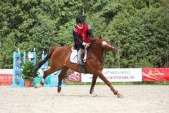 RIGA LETTLAND - AUGUSTI 12: Lettisk idrottsmanGuntars Silinsh ridi Royaltyfria Foton