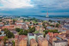 Riga Lettland, cityscape från akademi av vetenskaper arkivbild