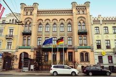 Riga, Lettland Deutsches Botschaftsgebäude Stockbilder