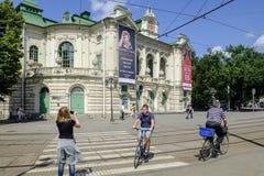 Riga Lettland, Europa, den estonian nationella teatern Arkivfoton