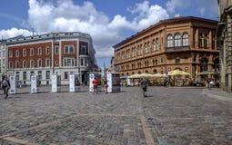 Riga Lettland, Europa, domkyrkafyrkanten Arkivfoton