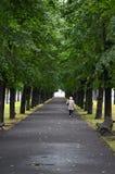 RIGA/LETTLAND - Juli 26, 2013: Den gamla kvinnan går bara under träden i en parkera arkivfoto