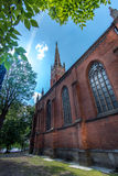 RIGA LETTLAND - JUNI 14 2017: Historisk byggnad av den Riga kupoldomkyrkan Arkivbild