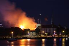 Riga, Lettland - 21. Juni: Lettischer Präsidentenpalast und Geschichte-mus Lizenzfreie Stockfotografie