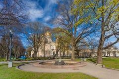RIGA, LETTLAND - 6. MAI 2017: Ansicht über Riga-` s Geburt Christi von Christus-Kathedrale, die im Stadtzentrum von Riga ist lizenzfreies stockbild