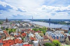 Riga, Lettland Panoramablick des Rigas lizenzfreies stockbild